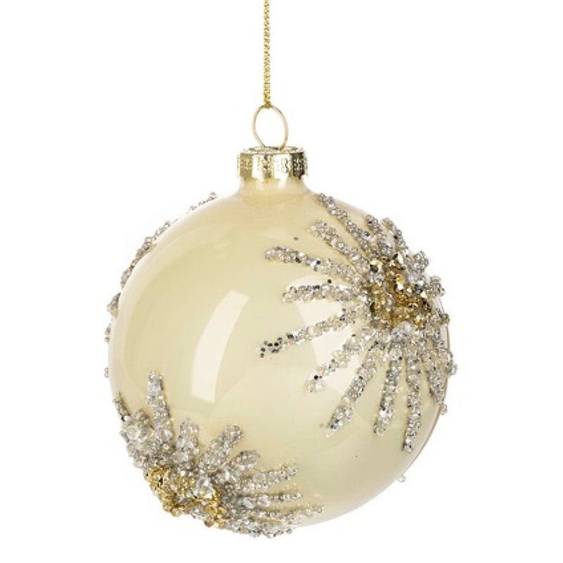 Shiny Ivory Gold Glittered Ball Ornament