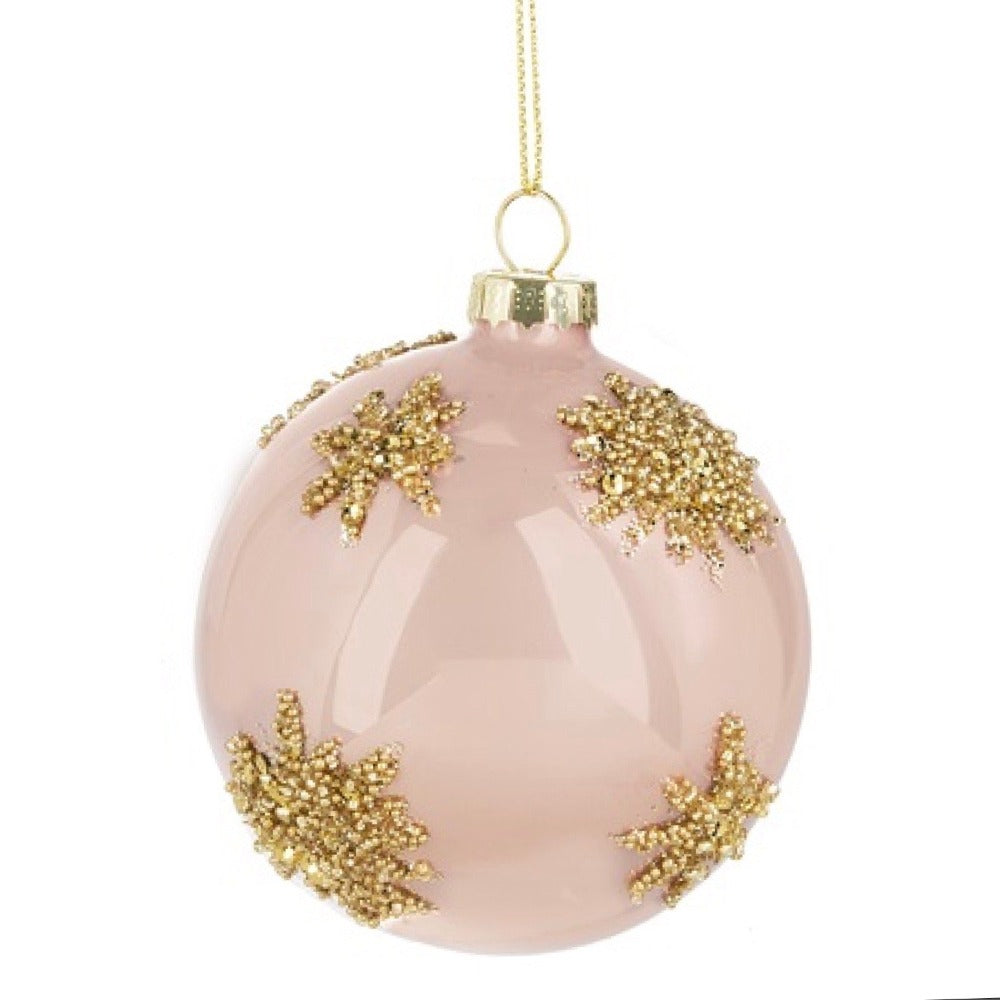 Shiny Pink Gold Glittered Ball Ornament | Putti Christmas Canada