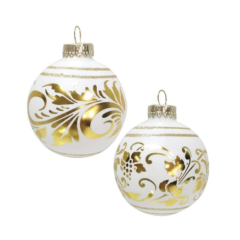 Kurt Adler White with Gold Florentine Glass Ball Ornaments - 6 Piece Box Set
