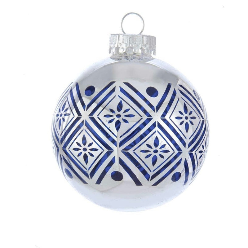 Kurt Adler Silver with Navy Blue Pattern Glass Ball Ornaments - 6 Piece Box Set