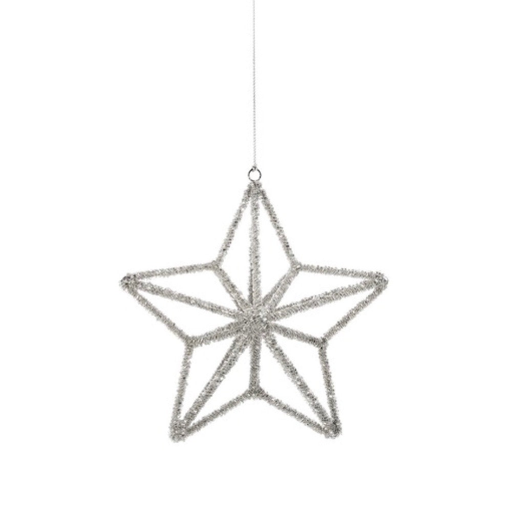 Silver Beaded 3D Star Ornament