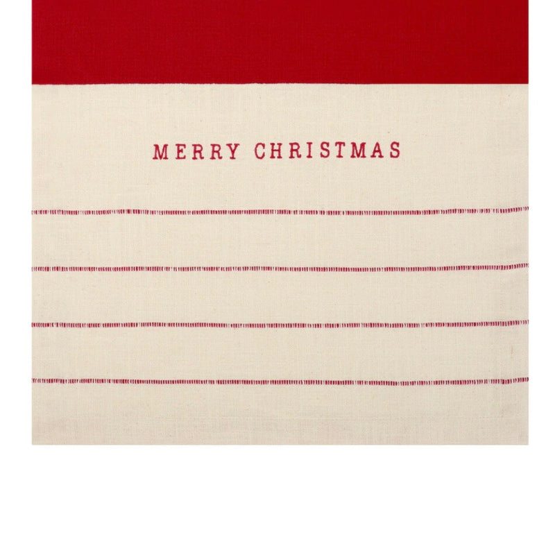 "Red Stitched ""Merry Christmas"" Table Runner 