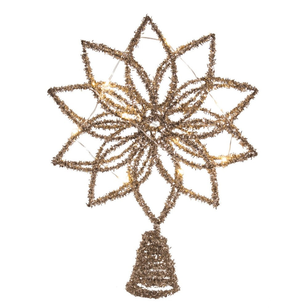 Gold Tinsel LED Tree Topper | Putti Christmas Celebrations