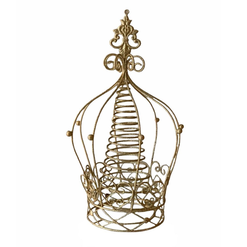 Gold Glittered Metal Crown Christmas Tree topper