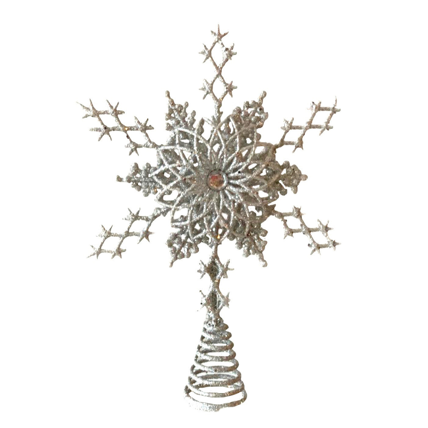 Silver Snowflake Christmas Tree Topper