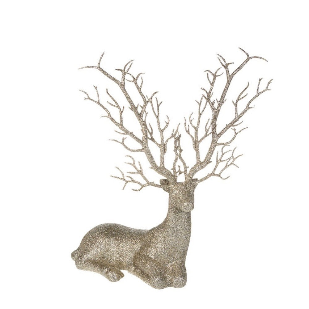 Glittered Champagne Silver Sitting Deer | Putti Christmas