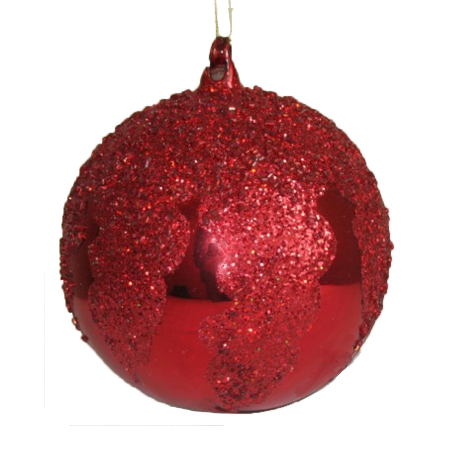Large Red with Glitter Cap Glass Ball Ornament