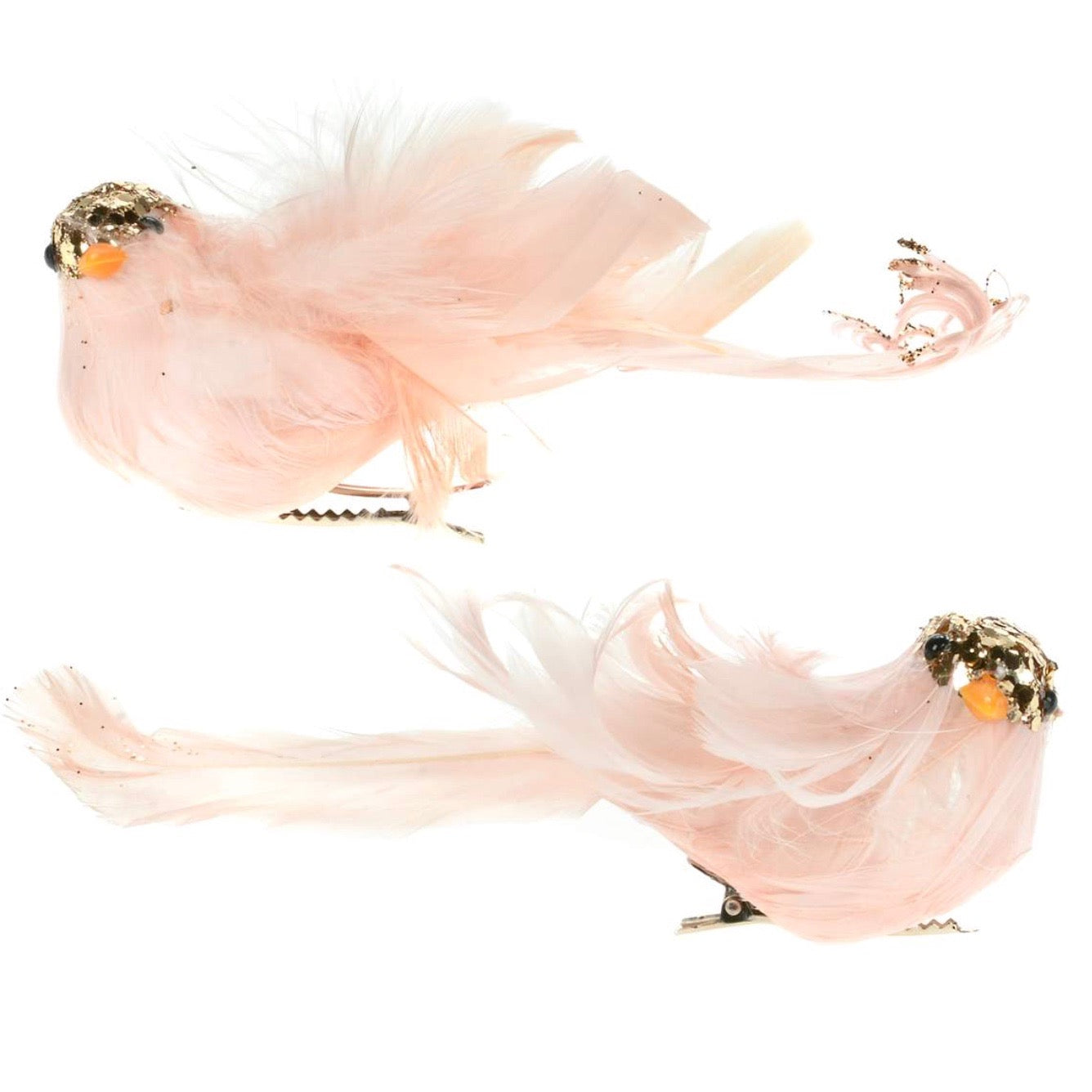 Blush Pink Feather Bird with Clip