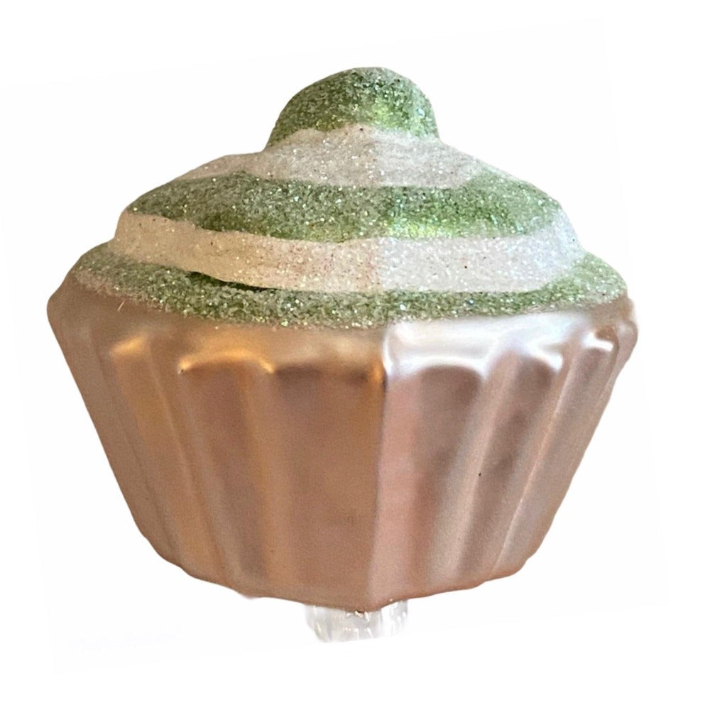 Green Cupcake Glass Ornament with Clip