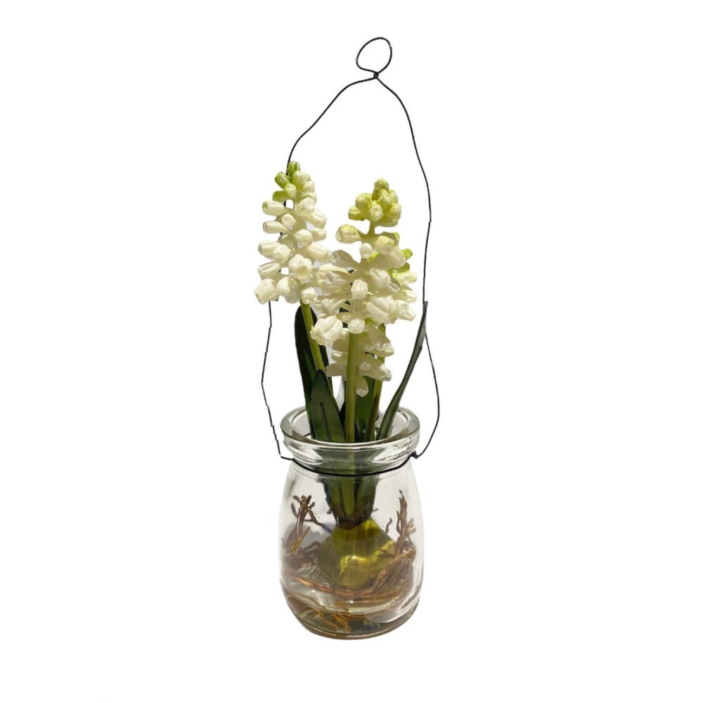 White Muscari In Hanging Glass Jar