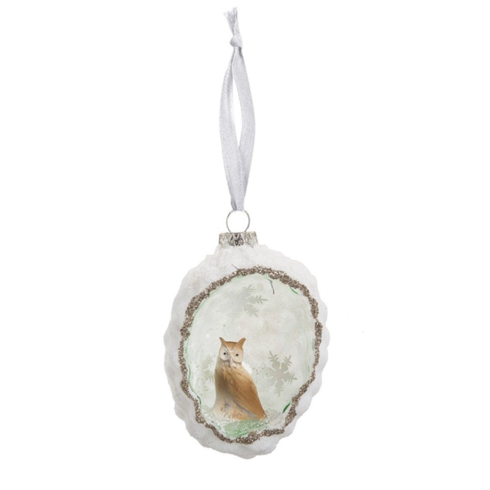 Woodland Scenic Owl Glass Ornament