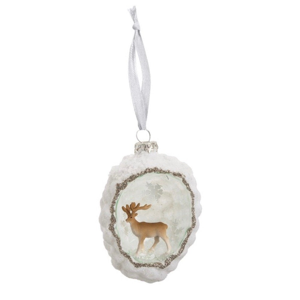 Woodland Scenic Deer Glass Ornament
