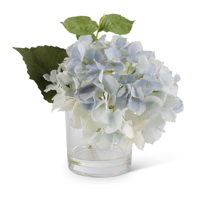 Blue Real Touch Hydrangea in Glass Vase