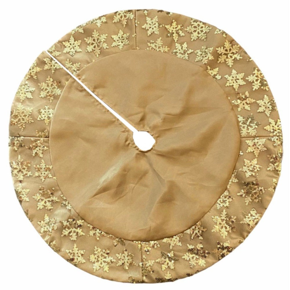 Kurt Adler Miniature Gold Satin Snowflake Tree Skirt | Putti Christmas