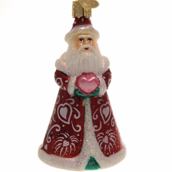 Old World Romantic Santa Glass Ornament