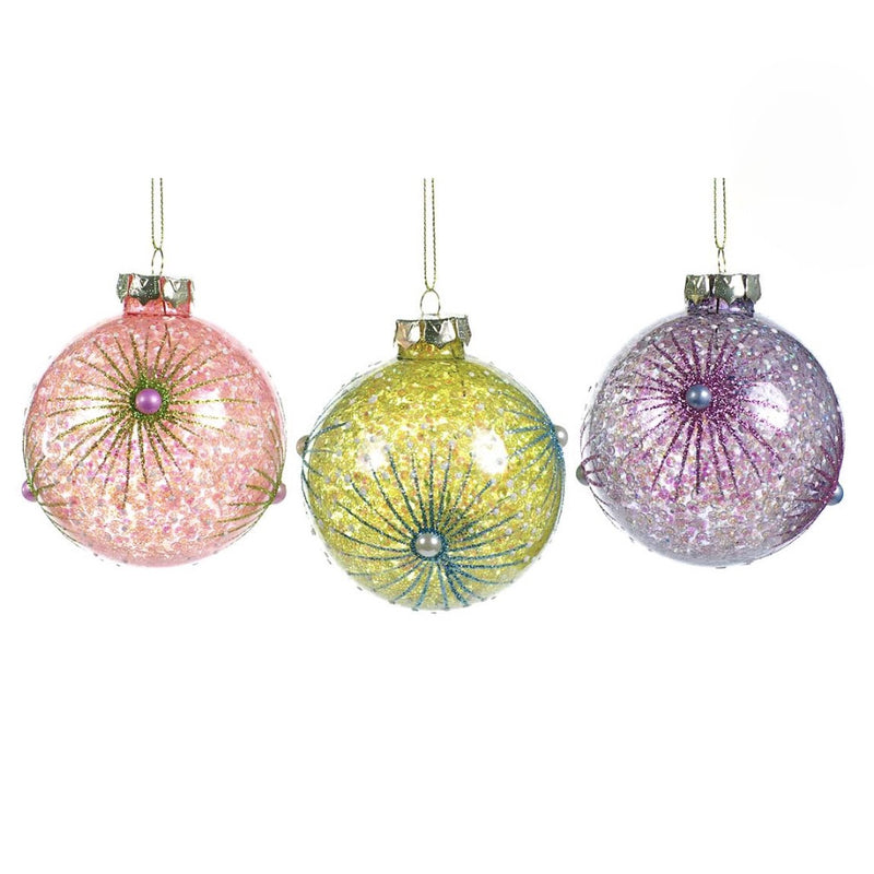 Pastel Glass Balls with Starburst and Pearl, CT-Christmas Tradition, Putti Fine Furnishings
