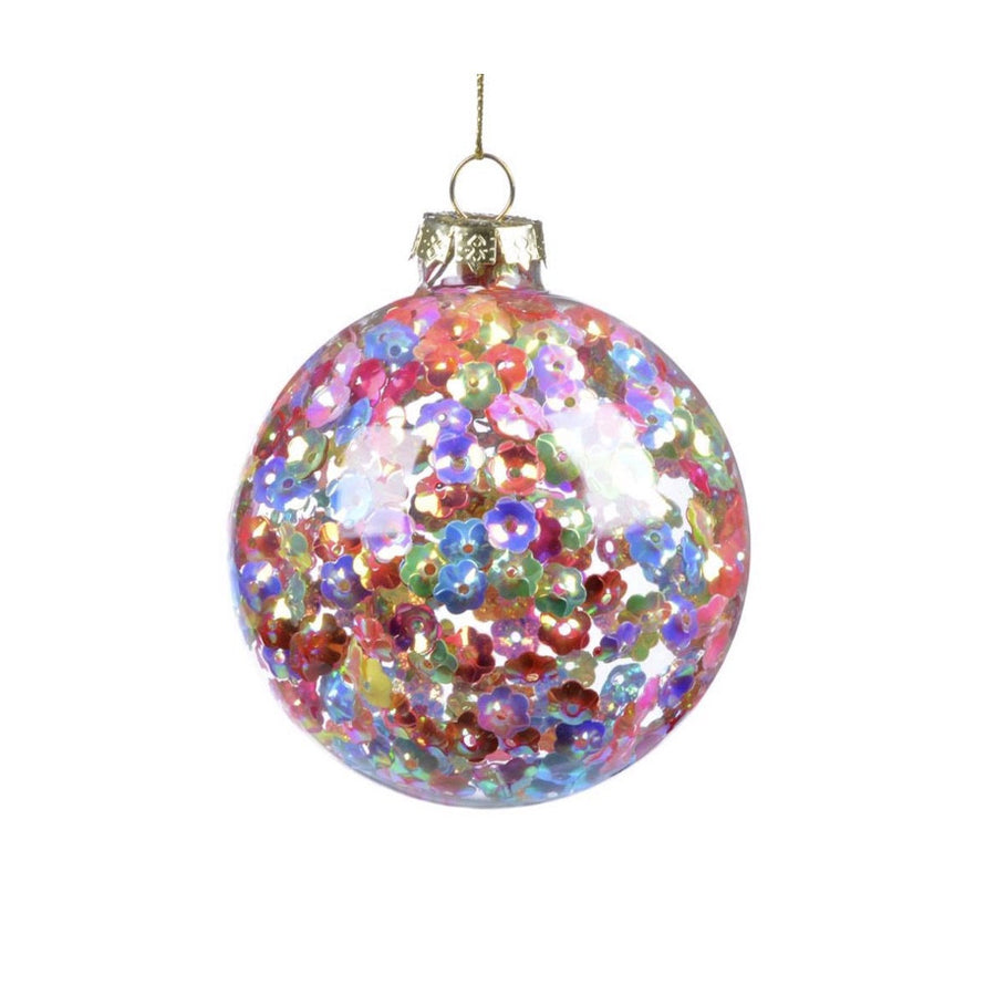 Multi Colour Flower Sequin Glass Ball