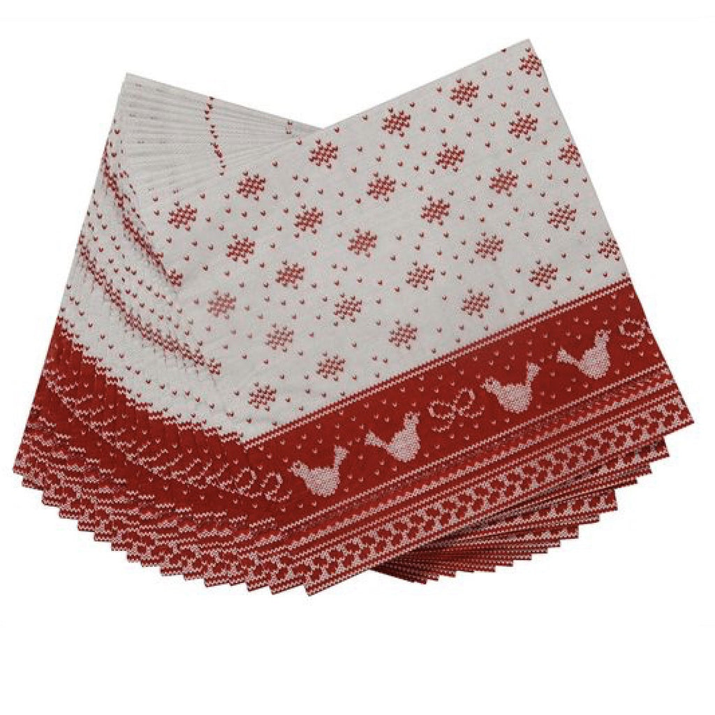 "Red & White ""Knitted Noel"" Dinner Napkin-Party Supplies-TT-Talking Tables-Putti Fine Furnishings"