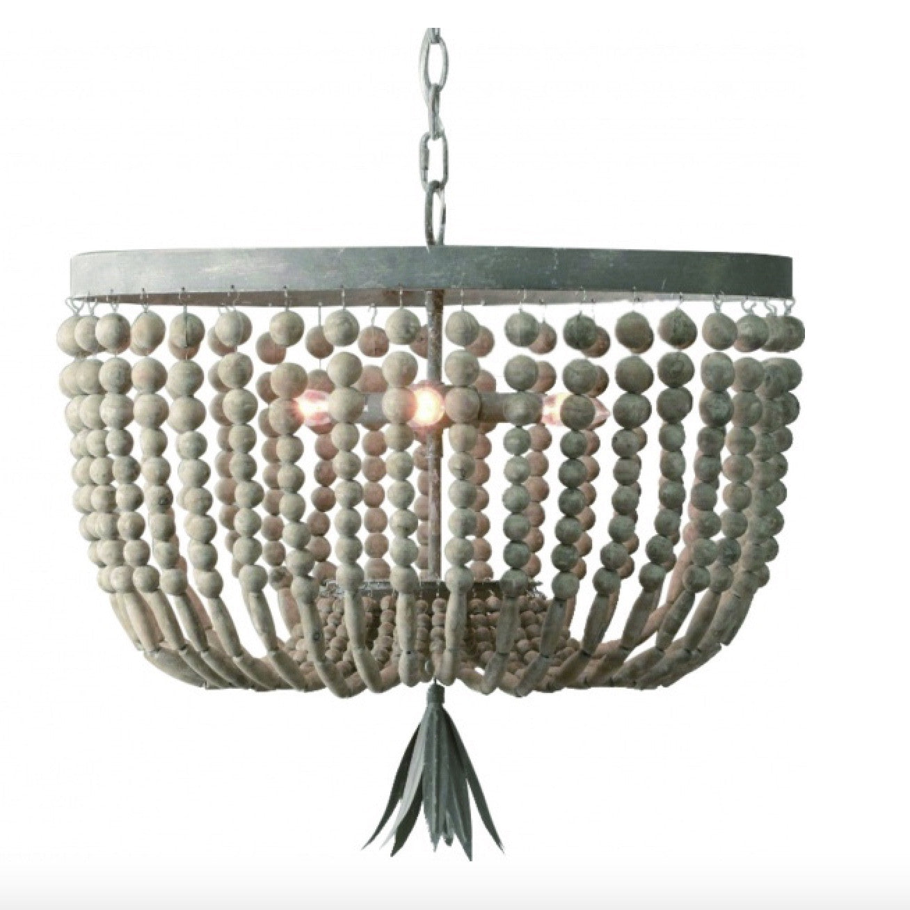 Wooden Beaded Bag Chandelier