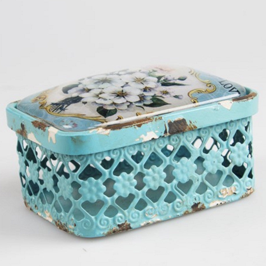 Vignette Collection Rectangular Box - Duck Egg Blue -  Accessories - RJB Stone - Putti Fine Furnishings Toronto Canada - 1