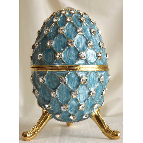 Jewelled Faberge Egg Music Box - Aqua-Accessories-FDF-Fil de Fer Enterprises-Putti Fine Furnishings