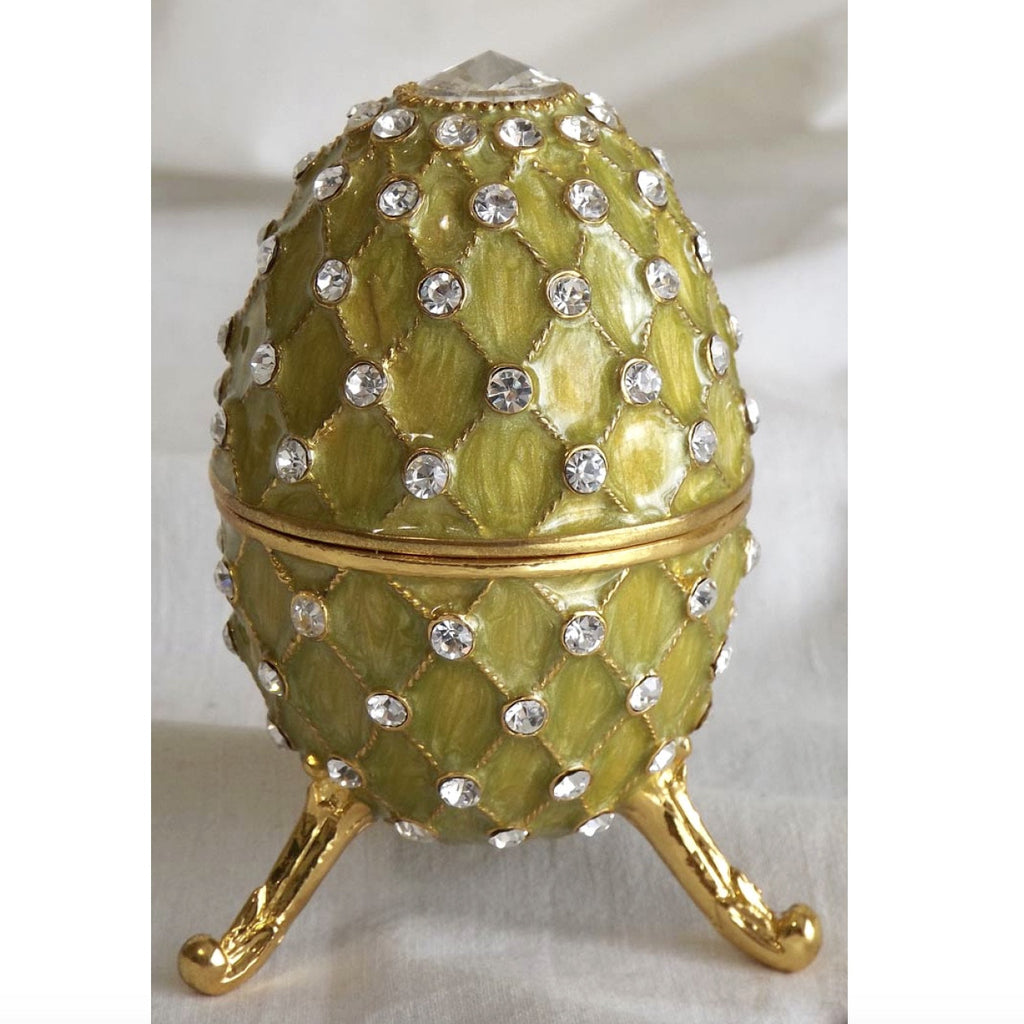 Jewelled Faberge Egg Music Box - Green-Accessories-FDF-Fil de Fer Enterprises-Putti Fine Furnishings