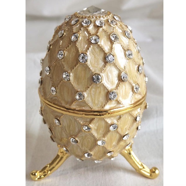 Jewelled Faberge Egg Music Box - Gold-Accessories-FDF-Fil de Fer Enterprises-Putti Fine Furnishings