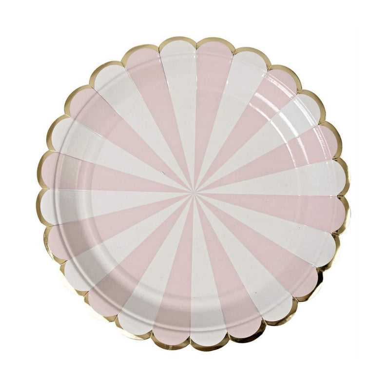 "Meri Meri ""Toot Sweet"" Dusty Pink and White Striped - Large Paper Plates"