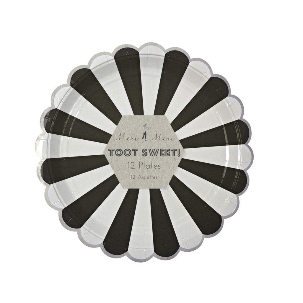"""Toot Sweet"" Black and White Striped - Large Paper Plates -  Party Supplies - Meri Meri UK - Putti Fine Furnishings Toronto Canada - 1"