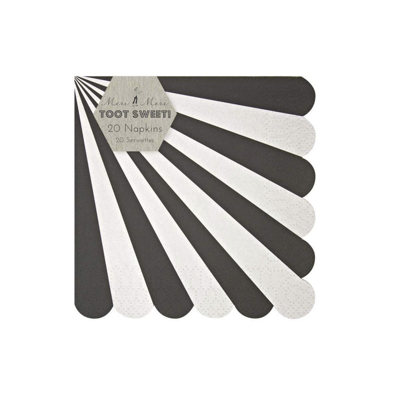 "Meri Meri ""Toot Sweet"" Black and White Striped - Small Paper Napkins"