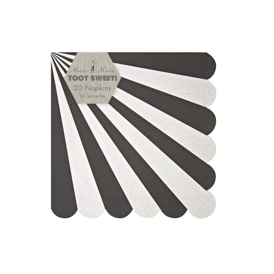 """Toot Sweet"" Black and White Striped - Small Paper Napkins"
