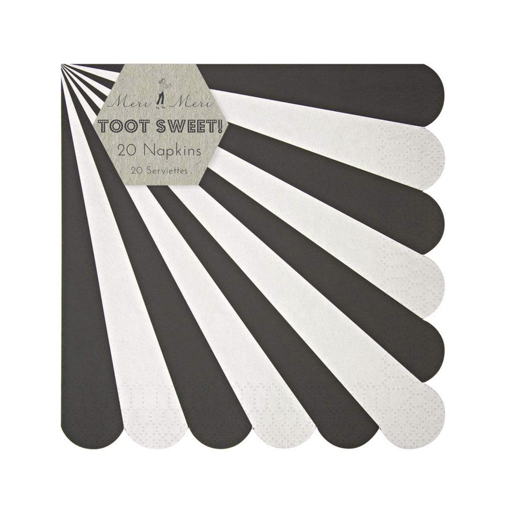 "Meri Meri ""Toot Sweet"" Black and White Striped - Large Paper Napkins"