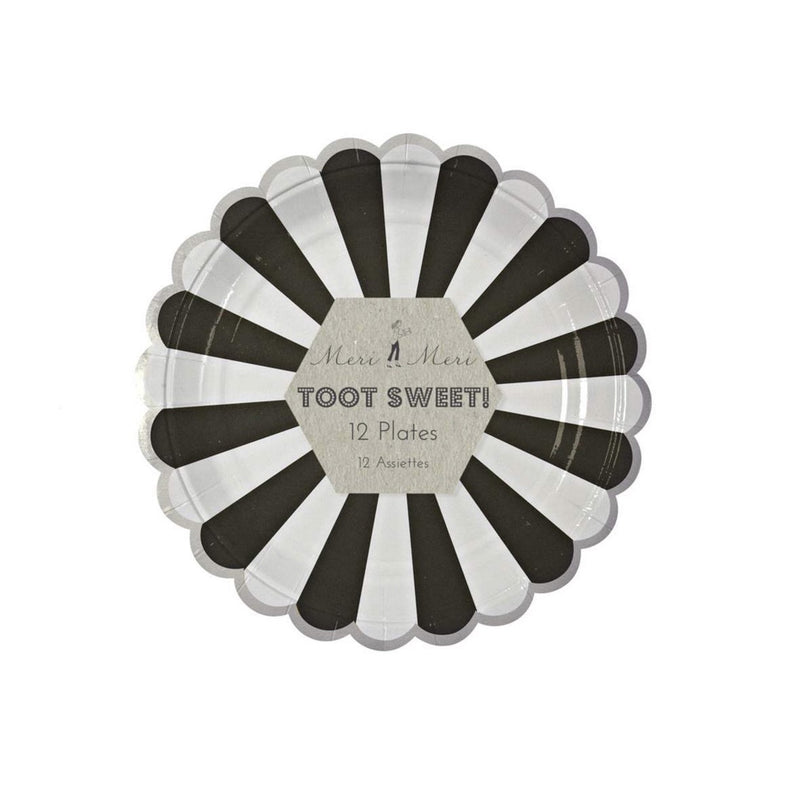 "Meri Meri ""Toot Sweet"" Black and White Striped - Small Paper Plates"