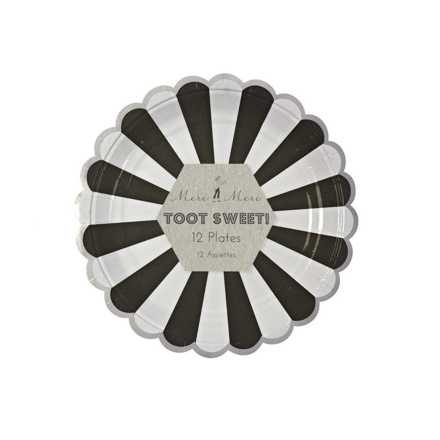 """Toot Sweet"" Black and White Striped - Small Paper Plates -  Party Supplies - Meri Meri UK - Putti Fine Furnishings Toronto Canada"