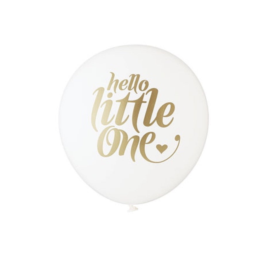 """Hello Little One"" Balloon White & Gold"