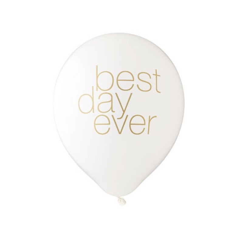 """Best Day Ever"" Balloon White & Gold"