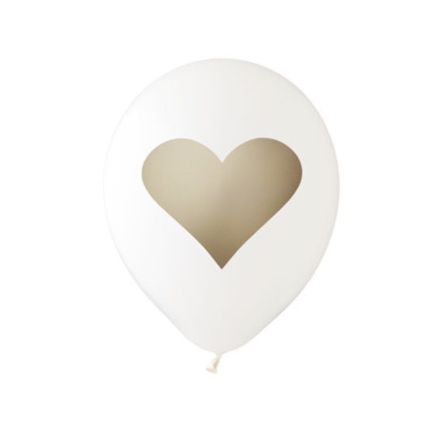 Big Heart Balloon White & Gold