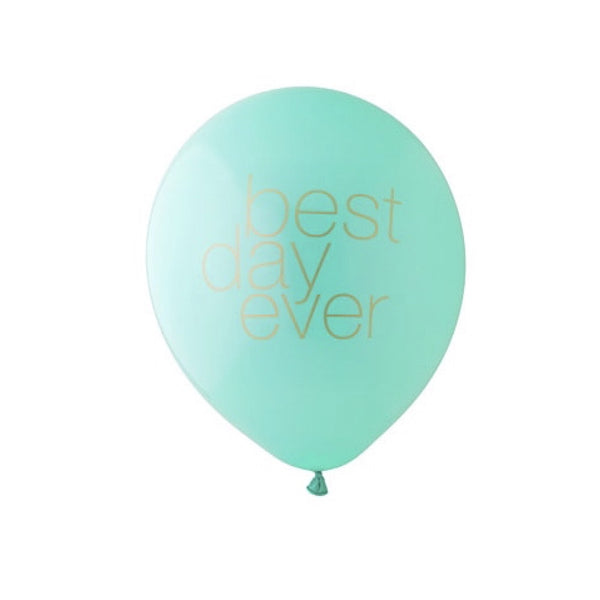 """Best Day Ever"" Balloon Aqua & Gold-Party Decorations-BW-Betsy White-Putti Fine Furnishings"