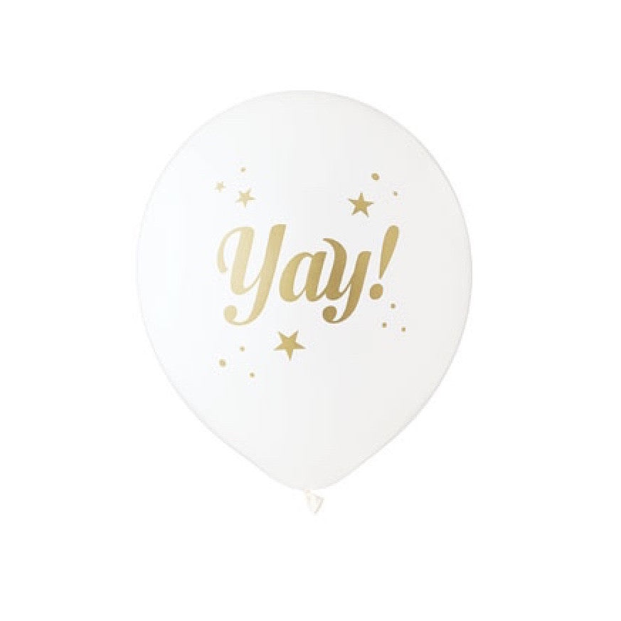 """Yay"" Balloon White & Gold"