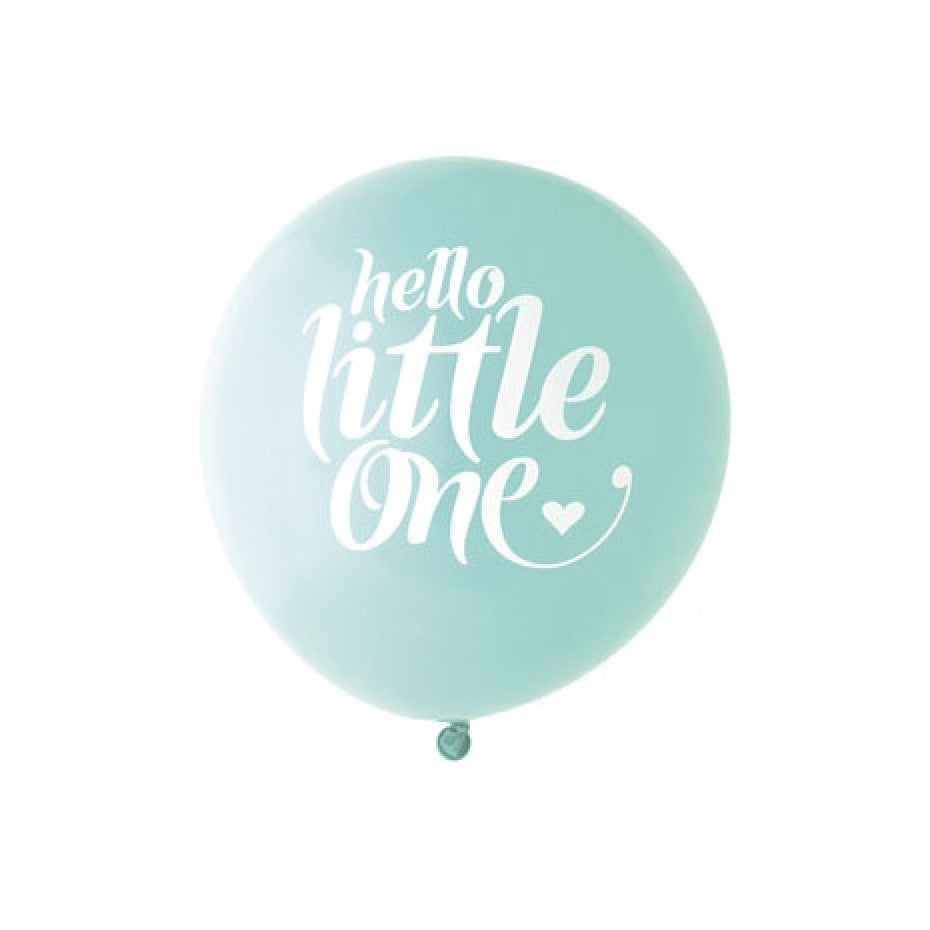"""Hello Little One"" Balloon Aqua & White"