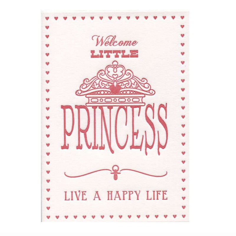 """Welcome Little Princess...live a happy life"" Greeting Card, Paper E Clips, Putti Fine Furnishings"