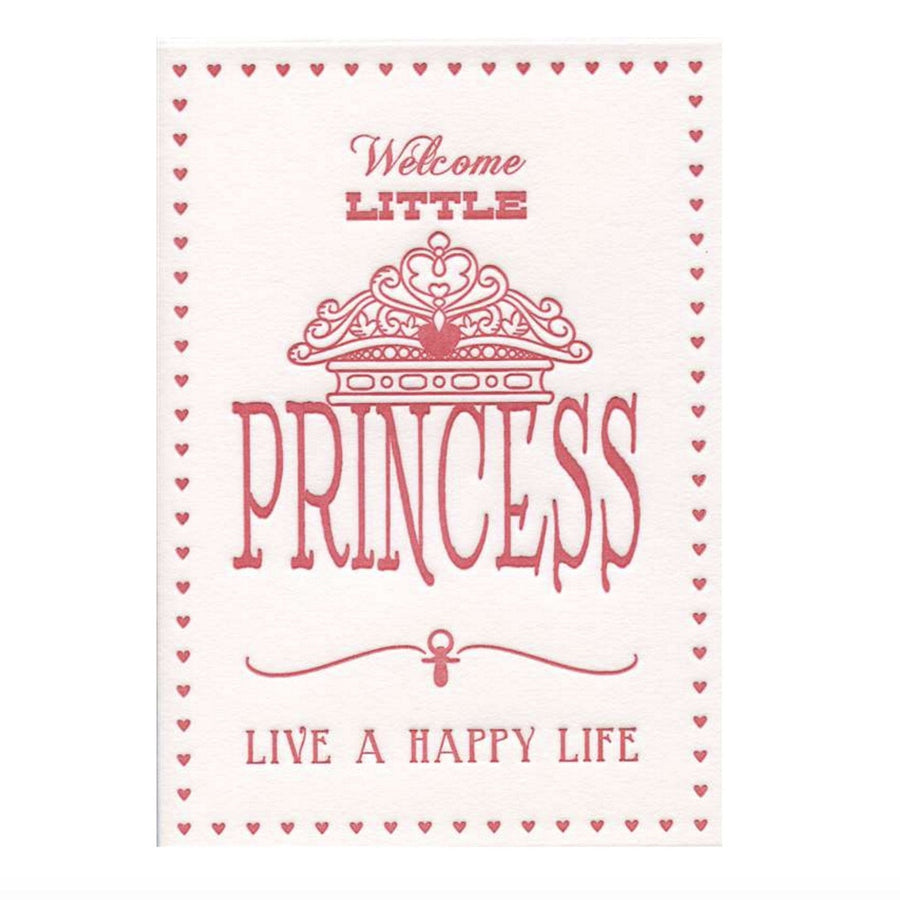 """Welcome Little Princess...live a happy life"" Greeting Card"