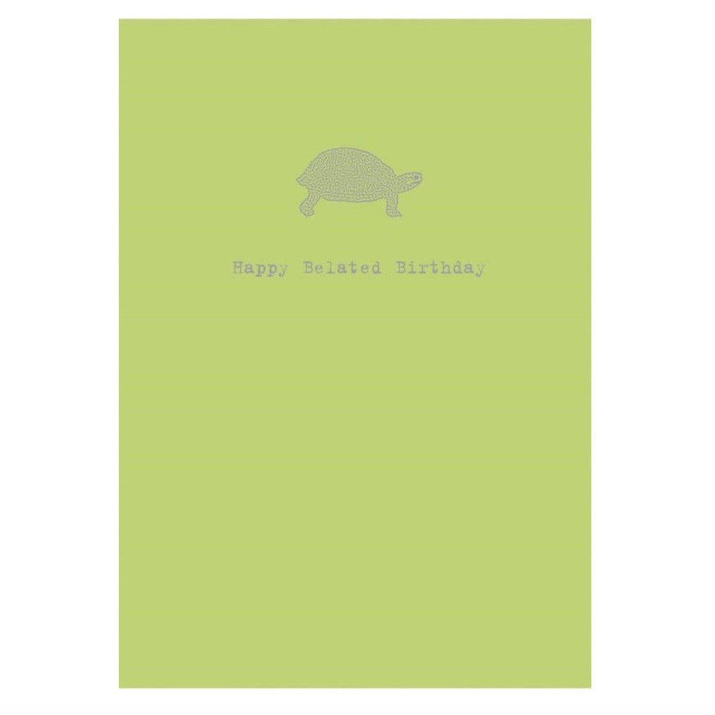 """Happy Belated Birthday ...I Missed it by a Hare"" Turtle Greeting Card, Bella Flor, Putti Fine Furnishings"