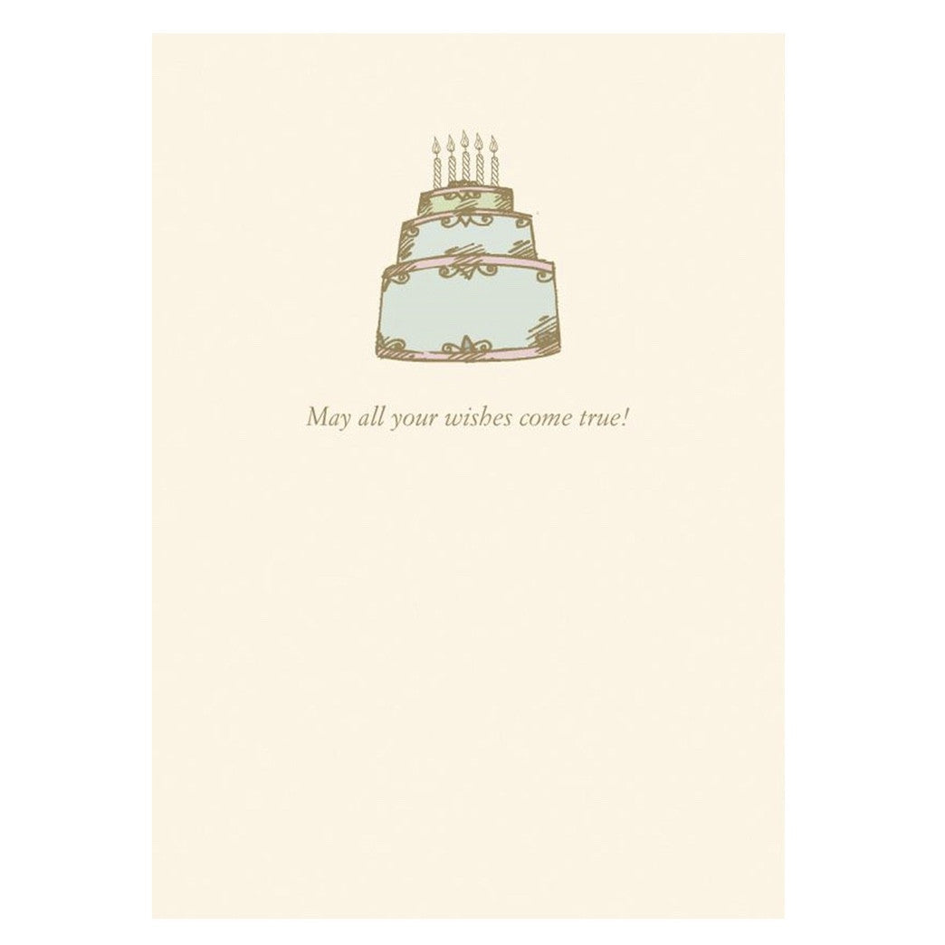 """May all Your Wishes Come True"" Birthday Cake Greeting Card, Bella Flor, Putti Fine Furnishings"