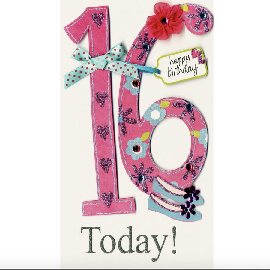 """16th Birthday Today Happy Birthday "" Greeting Card"