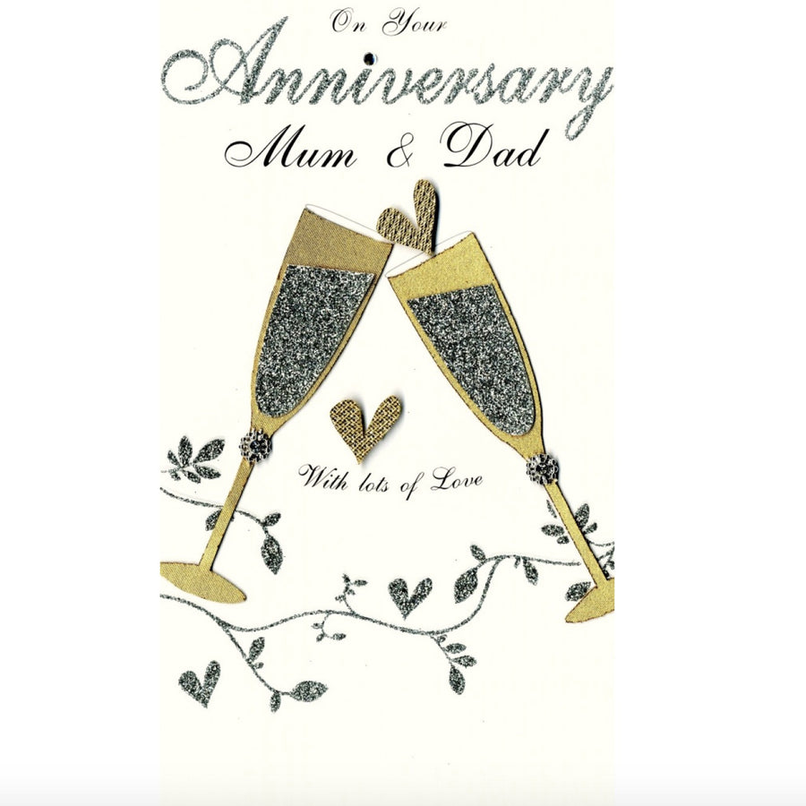 """On Your Anniversary Mum & Dad"" Greeting Card"