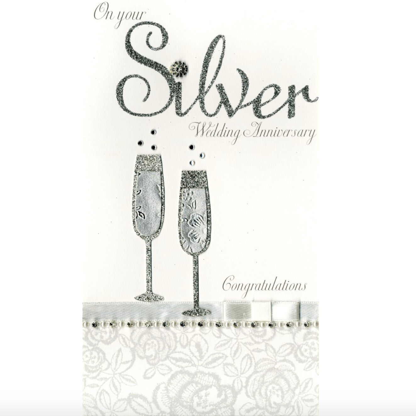"""On Your Silver Wedding Anniversary...Congratulations"" Greeting Card, ID-Incognito Distribution, Putti Fine Furnishings"