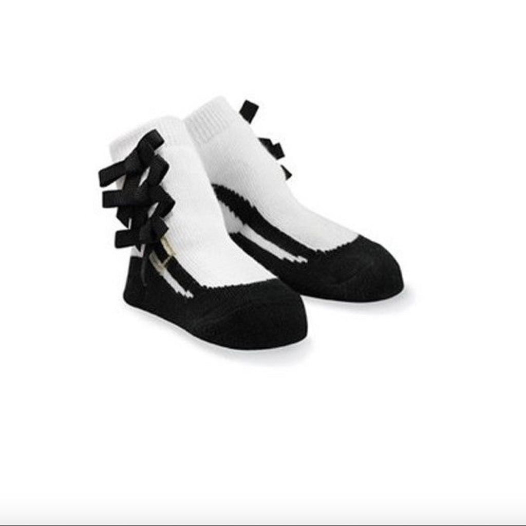 Mud Pie Black and White Triple Bow Socks -  Baby Socks - Mud Pie - Putti Fine Furnishings Toronto Canada