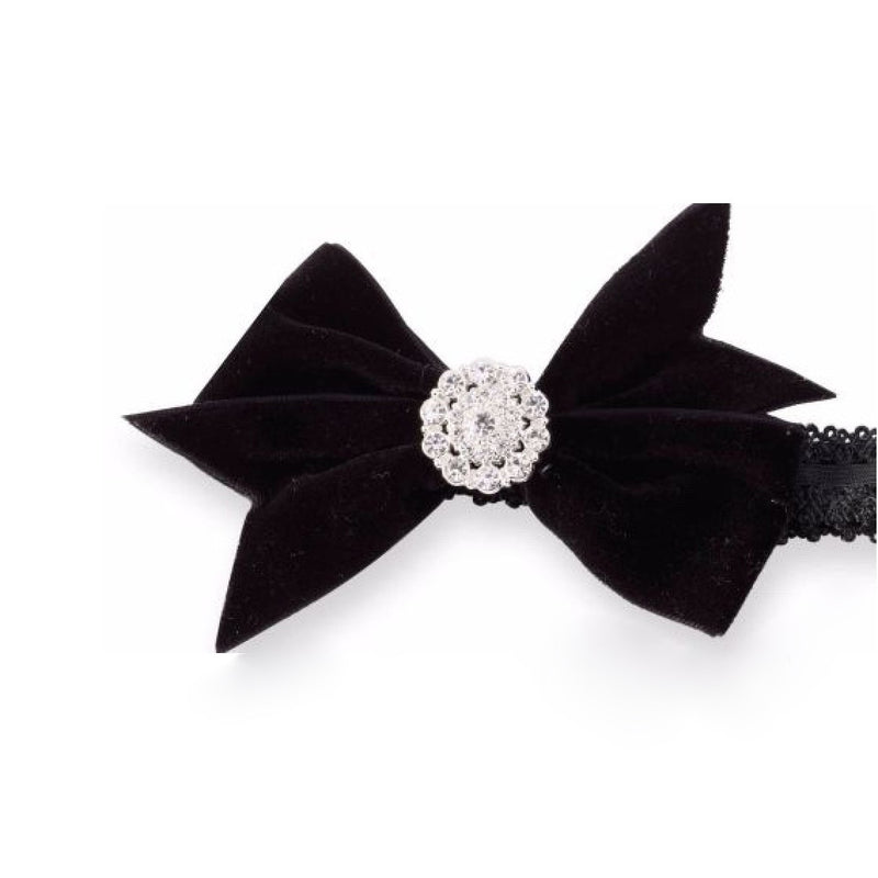Mud Pie Black Velvet Bow Head Band, MP-Mud Pie, Putti Fine Furnishings