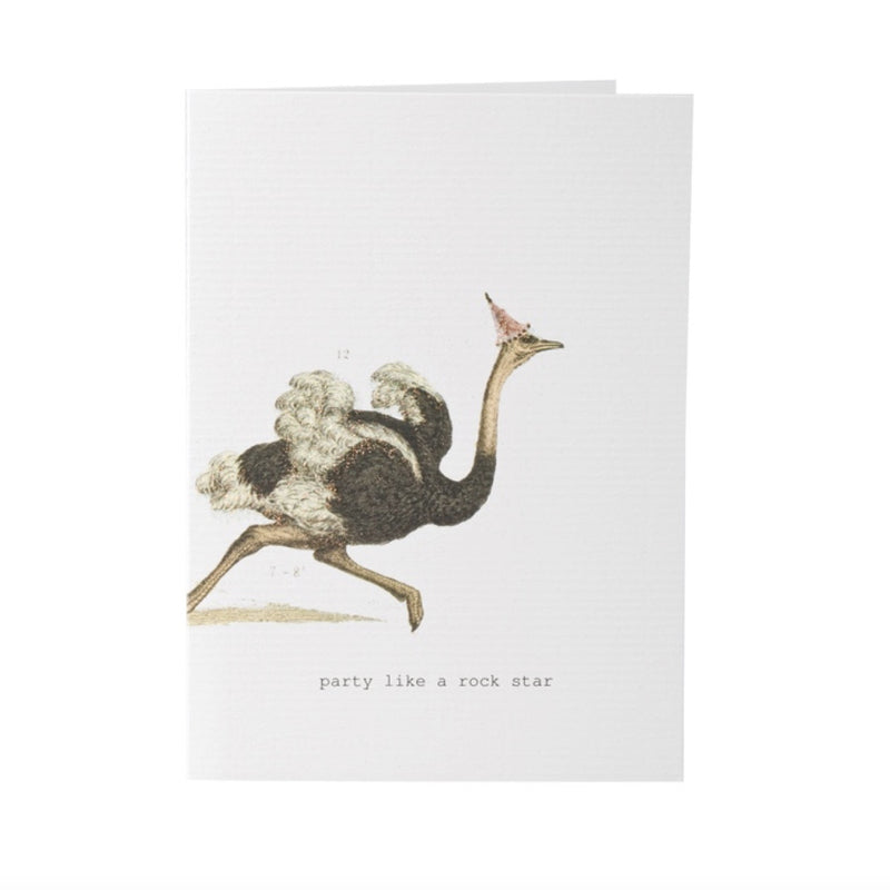 "Tokyo Milk ""Party like a rock star"" Ostrich Card -  Stationary - Tokyo Milk - Putti Fine Furnishings Toronto Canada"